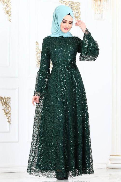 Modaselvim Abiye Volan Kol Pul Payet Abiye 2157ms212 Zumrut Musluman Modasi The Dress Elbiseler
