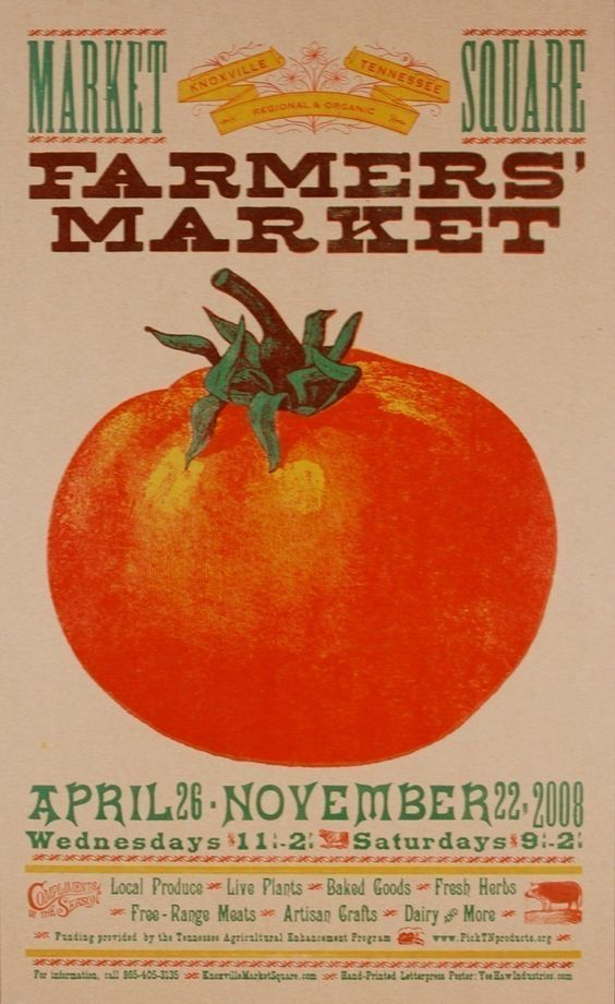 FARMERS MARKET TOMATO POSTER PRINT HAND PRINTED ...