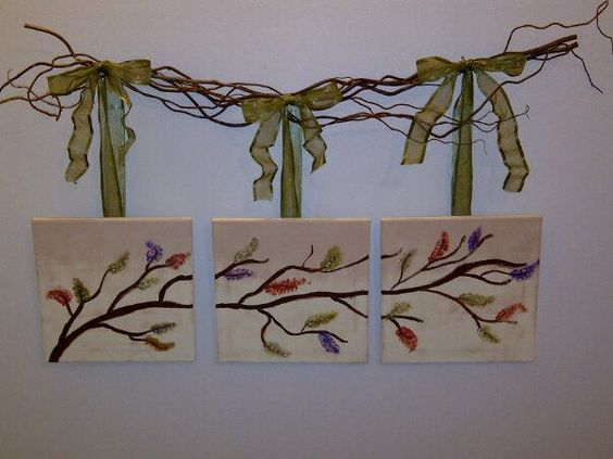 I made this branch wall art for my stairwell.