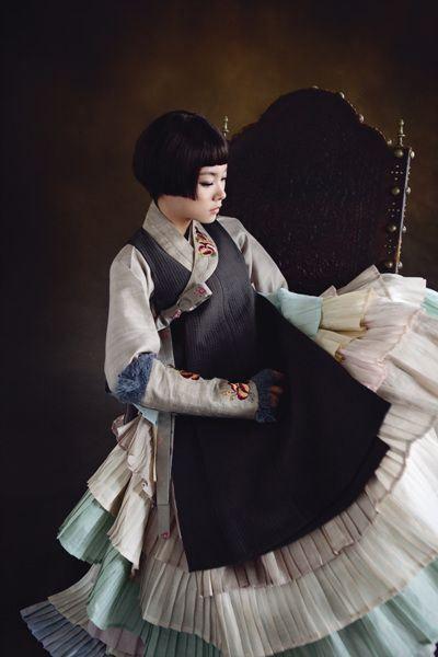 gorgeous modern multi-tiered hanbok: