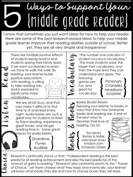 "As a middle grade/middle school teacher, parents typically want ideas for how to help their struggling readers. That's tricky, because I just want to say, ""Read! Read! Read!"" But I know they might need more direction. I made this hand-out and posted it, along with book recommendation lists, as a FREEBIE in my store for you to use too! Link in profile.:"
