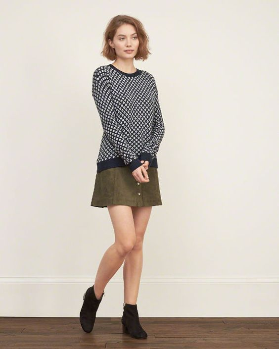 Womens Patterned Rib-trim Sweater