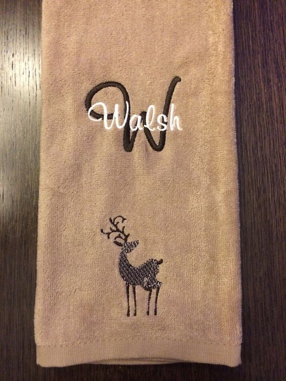 Personalized Machine Embroidered and Monogramed Christmas Reindeer Towel by Could You Be Any Cuter on Etsy