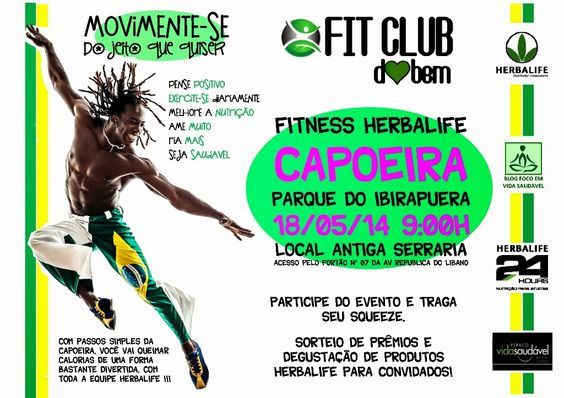 FITCLUB DO BEM CAPOEIRA NO IBIRAPUERA .. com passos simples da capoeira, você vai queimar calorias de uma forma bastante divertida, com toda a equipe Herbalife do Bem!