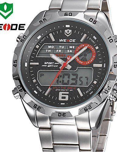 WEIDE Männer analoge&digitale LCD-Anzeige Multifunktions Voll Edelstahl Quarzuhr - http://uhr.haus/weiq/weide-maenner-analoge-digitale-lcd-anzeige-voll
