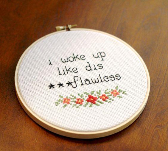 Beyonce Flawless cross stitch Modern Grandma Etsy Shop: https://www.etsy.com/shop/ModernGrandma