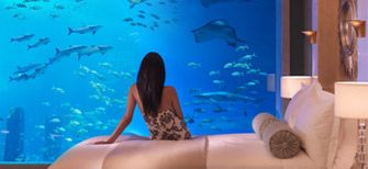 Atlantis Super Suites-- underwater suites with walls made of glass.