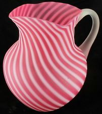 Antique Hobbs Brockunier Cranberry Opalescent Swirl BIG Pitcher Satin Frosted