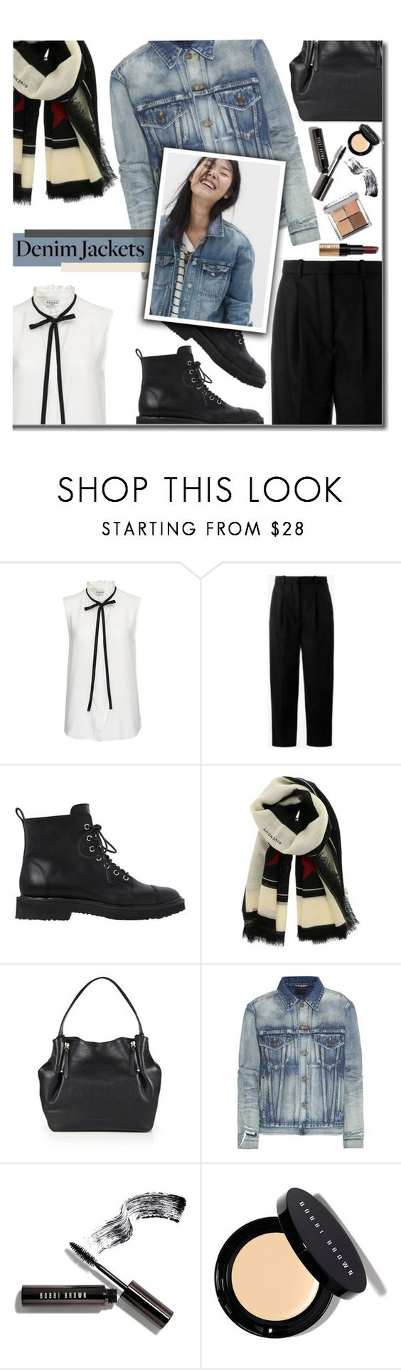 """""""010 - denim jackets"""" by earendil-xx ❤ liked on Polyvore featuring Frame Denim, Acne Studios, Giuseppe Zanotti, Givenchy, Burberry, Yves Saint Laurent, Madewell and Bobbi Brown Cosmetics"""