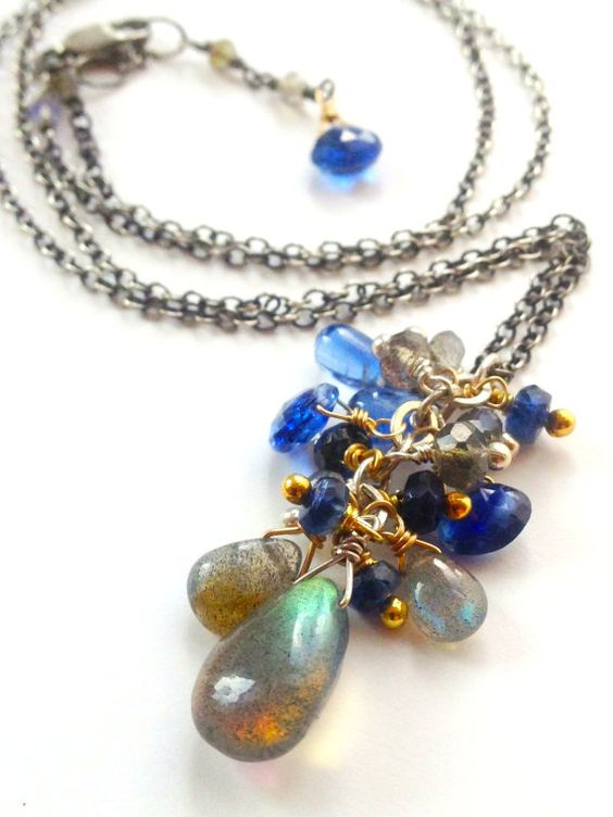 Labradorite and Kyanite Cluster Briolette by NakedPlanetJewelry, $68.00