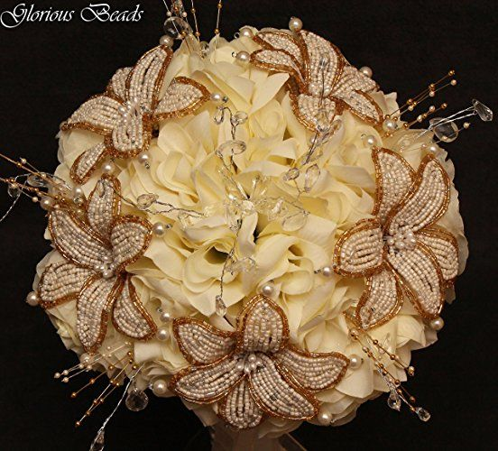 Amazon.com: Ivory and Gold Beaded Lily Wedding Flower 18 piece set with Ivory Roses ~ Unique French beaded flowers and beaded sprays: Handmade