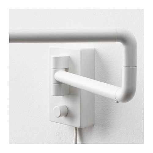 Nymane Wall Lamp With Swing Arm Led Bulb White Ikea In 2020 Wall Lamp Led Bulb Lamp