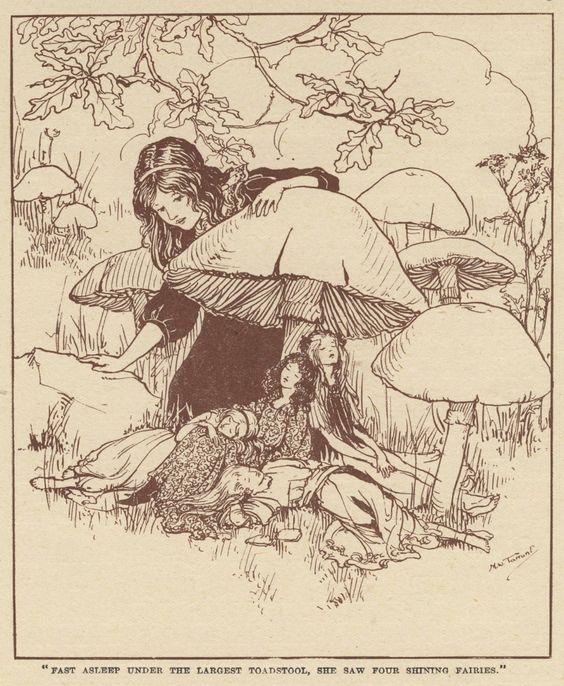 Margaret Tarrant aka M W Tarrant aka Margaret Winifred Tarrant (English, 1888-1959, b. Battersea, London, England) - Four Fairies  Drawings
