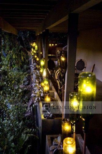 by Lenkin Design Inc: Landscape and Garden Design  Pasadena, CA, US 91105 · 106 photos  Wine Bottle Lighting on Patio  http://www.lenkindesign.com