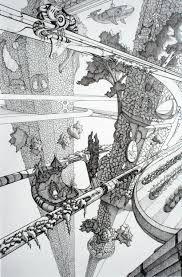 Resultado de imagem para pen and ink drawing  futuristics cities