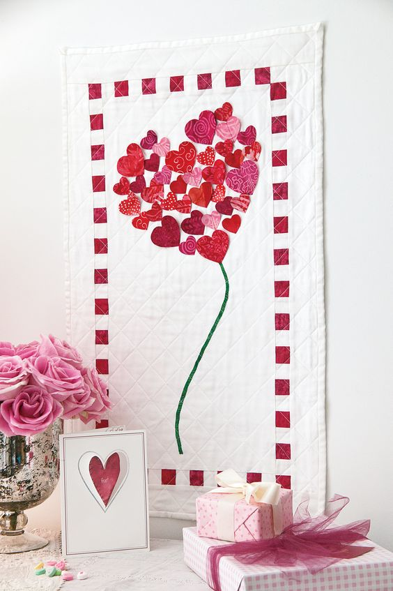 HEART OF HEARTS: Dimensional Details Valentine Wall Quilt Pattern Designed by ELLIE BROWN If you ...