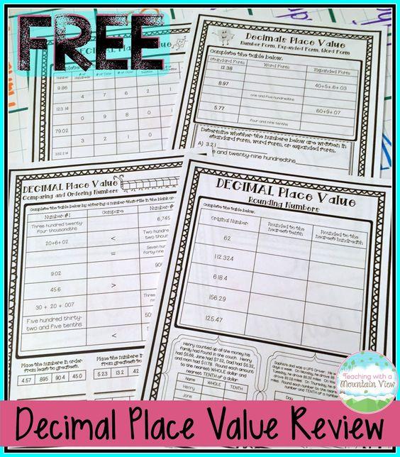 FREE Decimal Place Value Review Printables!