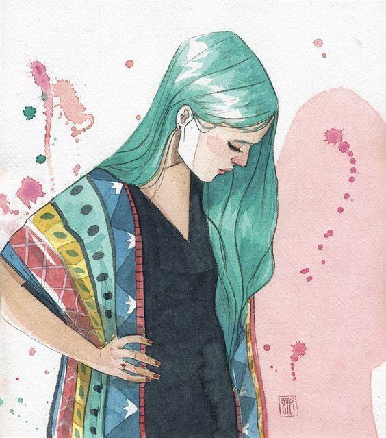 Esther Gili - AGUAMARINA #Illustration #Art #Girl
