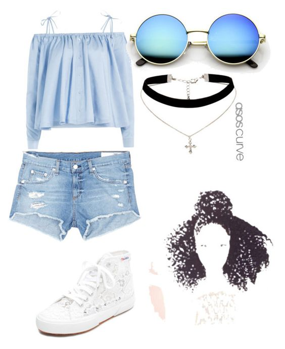 """The Blue Beach Girl"" by konahmassah on Polyvore featuring Sandy Liang, rag & bone/JEAN, Superga and ASOS Curve"