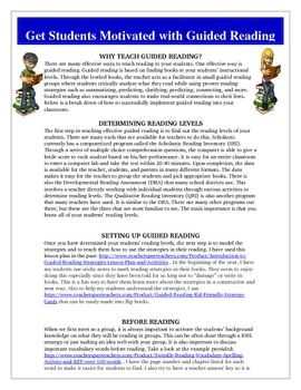 Guided Reading Tips, Hints, Strategies, Activities, and Ideas FREE!Common Core Reading Standards: 1,2,3,4,6This document will provide you wit...
