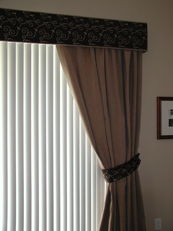 cornice with one way draw drapes and vertical blinds on. Black Bedroom Furniture Sets. Home Design Ideas