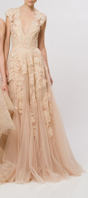 ZsaZsa Bellagio nude lace gown