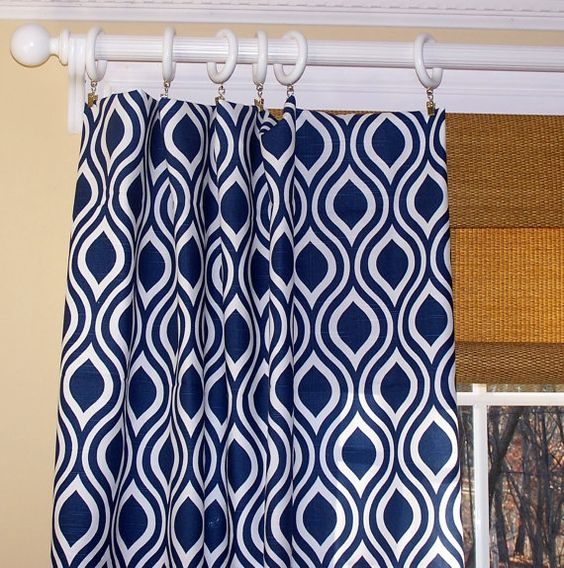 New Modern Nicole Leaf CURTAINS Premier Fabric Navy Blue White Two ...