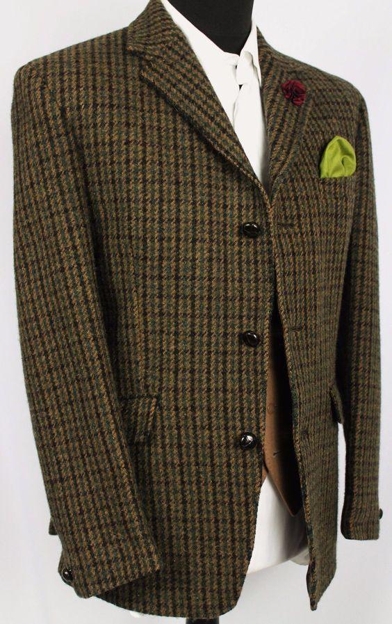 Harris Tweed Blazer Jacket Dogtooth Dunn & Co Country Wedding 40R WONDERFUL   eBay