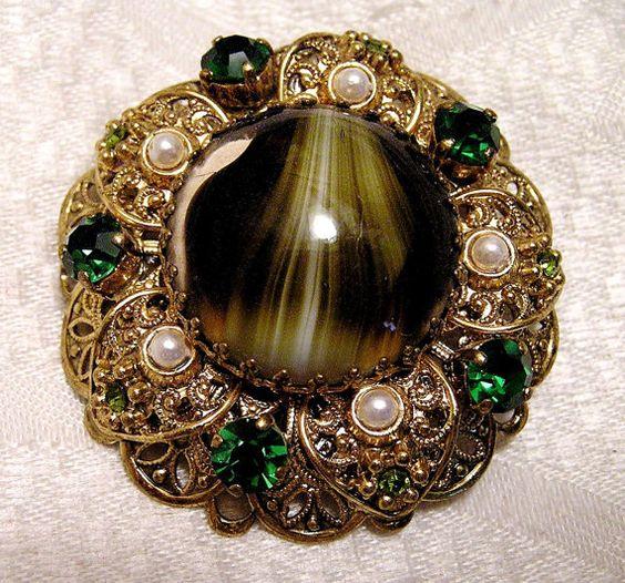 Vintage Art Glass Rhinestone Faux Pearl Brooch от luvintage