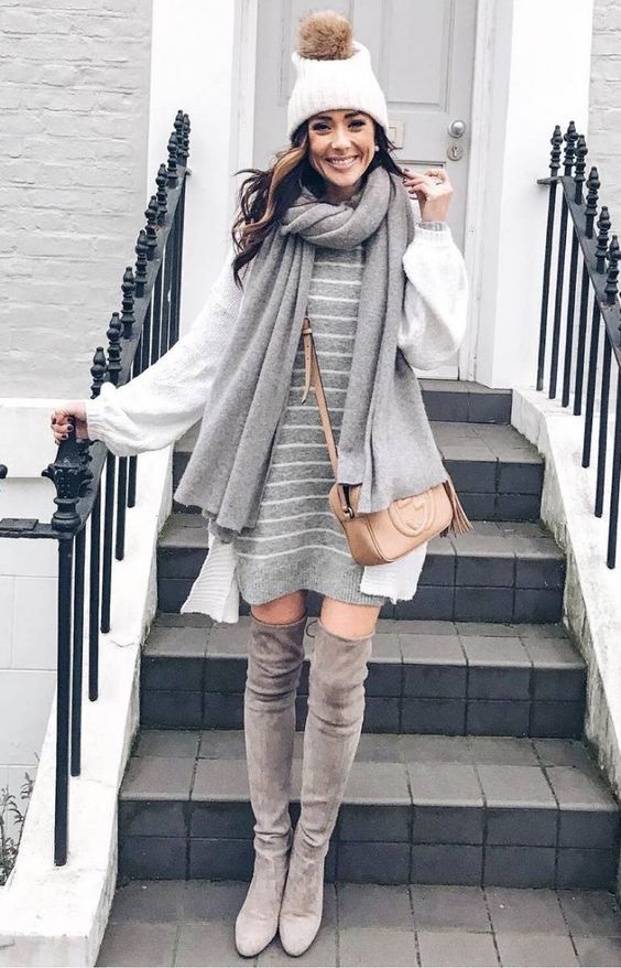 awesome winter outfit / hat   sweater dress   knit scarf   over knee boots   cardigan