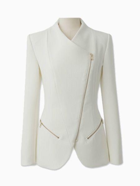 Choies Zipped Blazer In White