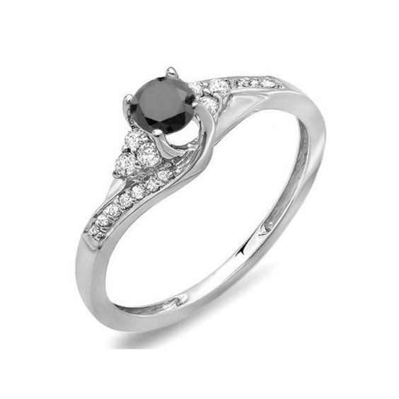 0.38 Carat (ctw) 10k White Gold Round White And Black Diamond Ladies... ($231) ❤ liked on Polyvore featuring jewelry, rings, white, round engagement rings, round diamond ring, engagement rings, diamond rings and bridal jewelry