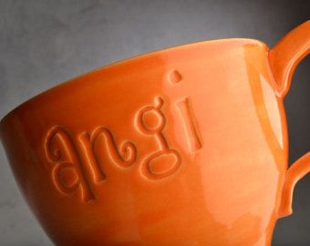 Personalized Mug Made To Order Personalized Stamped Soup Cocoa Mug by Symmetrical Pottery