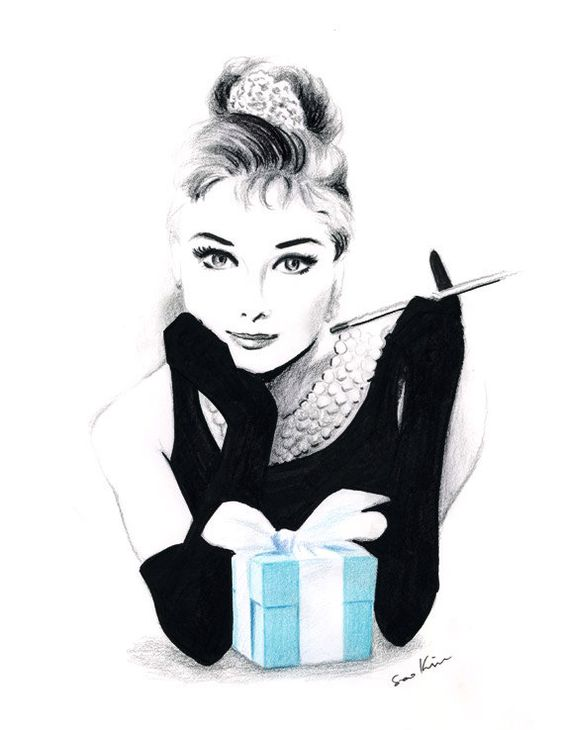 Audrey Hepburn at Tiffany's - Pencil and pen drawing