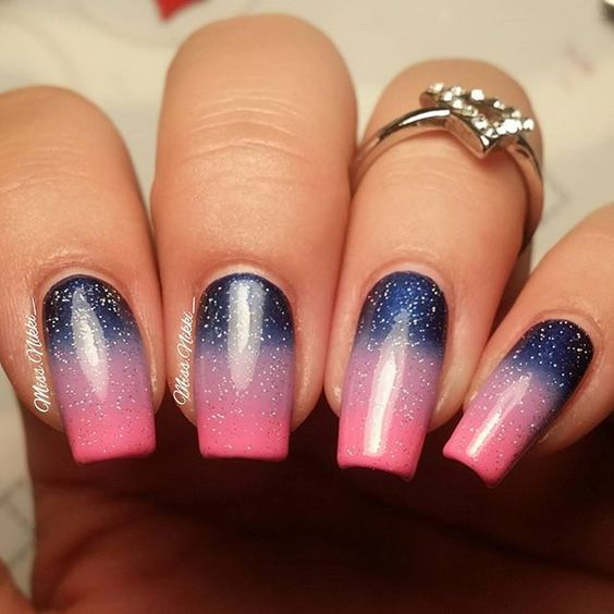 Sparkle ombre  #naturalnails #nailporn #myclaws #sinfulcolors #nailgradient #nailsbymissnikki