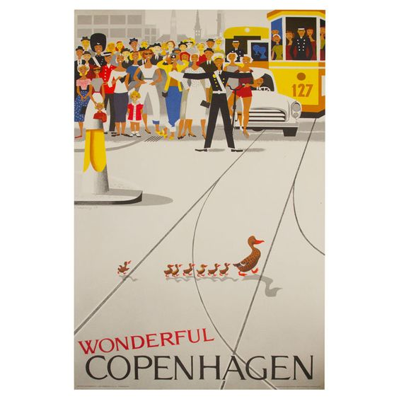 Original Vintage Copenhagen Travel Poster 1959