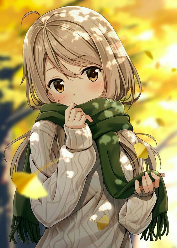 Little blonde anime girl in yellow autumn sunshine and falling leaves. Blonde anime girl in falling leaves; anime art.