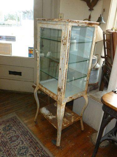 Antique Metal Medical Cabinet