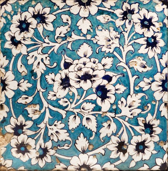 Art moghol (Musée du Louvre) | Carreau de revêtement Inde du Nord, empire moghol 18è siècle céramique, décor peint sous glaçure