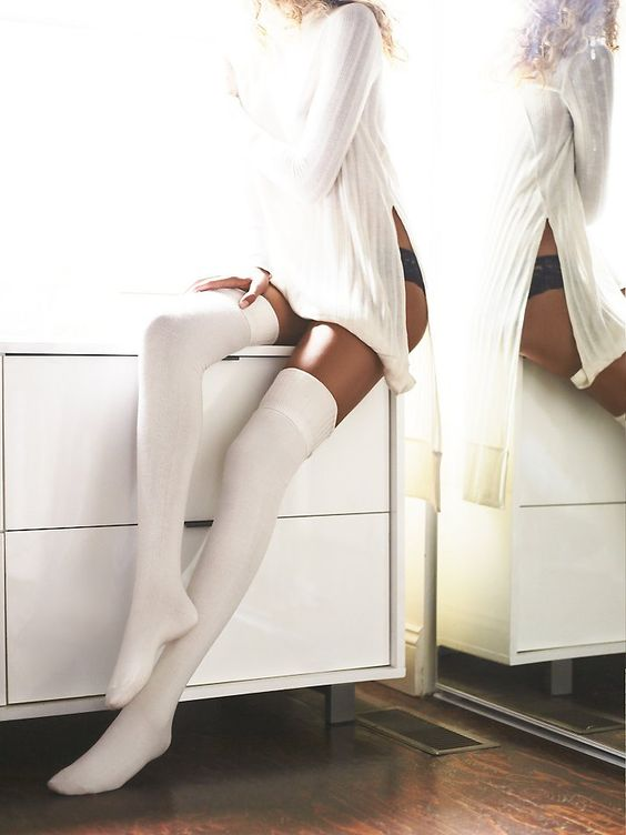 Silver Lake Thigh High Sock | Classic knit thigh highs with ribbed trims. Perfect with tall boots or a mini.