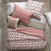 West Elm layered bedding. Gorgeous!