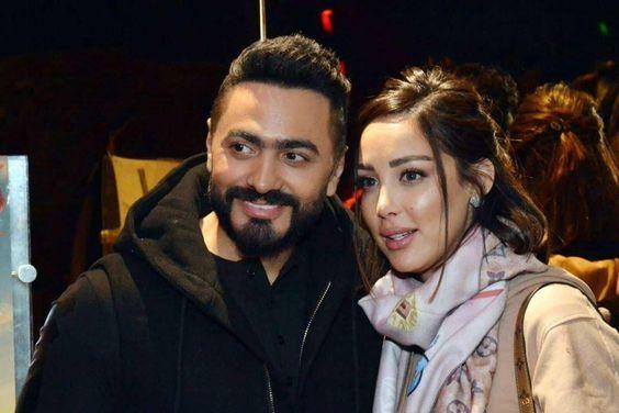 رقصة رومانسية تجمع تامر حسني وزوجته بسمة بوسيل Couple Photos Scenes Photo