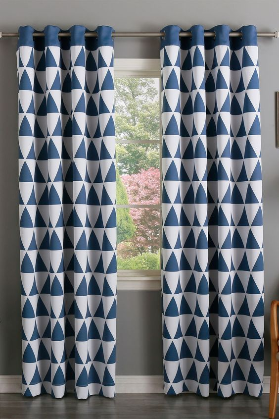 Geometric Triangle Printed Room Darkening Grommet Curtains - Set ...