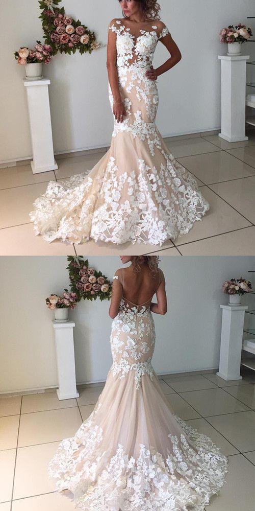 Elegant Champagne Mermaid Backless Wedding Dresses With Ivory Lace Appliques Backless Mermaid Wedding Dresses Light Pink Wedding Dress Wedding Dresses Blush,Beach Wedding White Maxi Dress