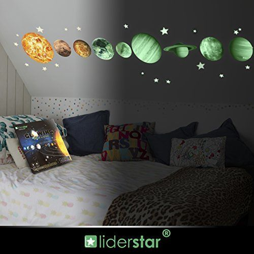 Glow In The Dark Stars And Planets Bright Solar System Wall Stickers Sun Earth Mars And So On9 Glowing Ceiling Decals Bedroom Decor Living Room Pictures Decor