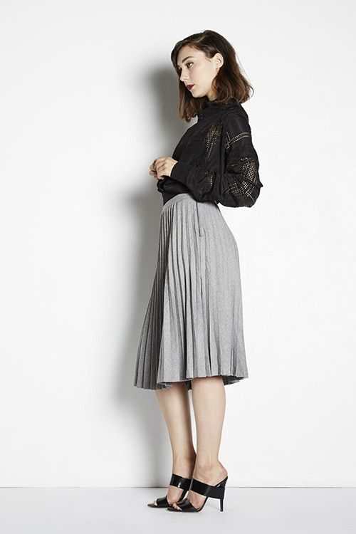 Perfect for Petites | Adela Mei Petite Clothing Boutique| Hillary Pleat Midi Skirt