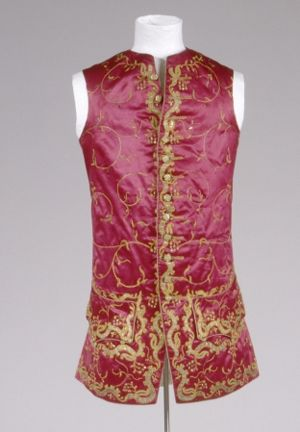 Sleeveless Waistcoat, 1750, Germany, Cotton, linen, silk.  Front: silk, red, brown, orange, satin weave; Back: linen, red; plain weave lining. Embroidery: metallic thread, gold, silk, yellow. GERMANISCHES NATIONALMUSEUM | Nürnberg