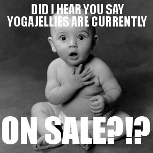 That's right! Our Celebration Sale is going on now! Read all about it on our blog: http://yogajellies.blogspot.com/2012/12/yogajellies-holiday-celebration-sale.html