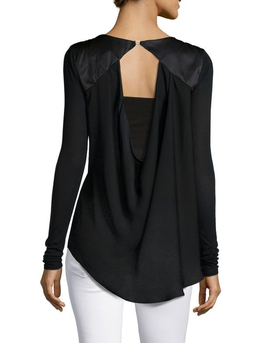 Long-Sleeve Cowl-Back Top, Black