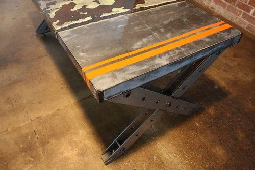reclaimed modern steel desk—weld house